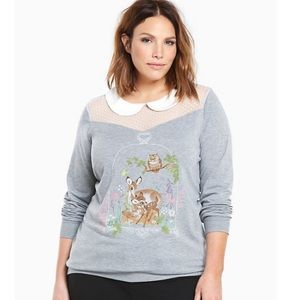 NWT Torrid Disney Bambi Grey Collar Top 5X
